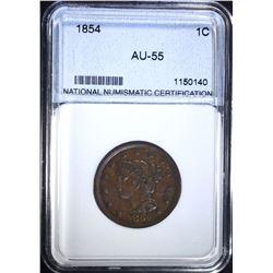 1854 LARGE CENT, NNC AU/BU