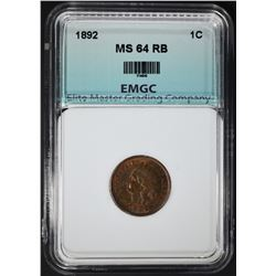 1892 INDIAN CENT, EMGC CH/GEM BU RB