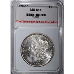 1878-CC MORGAN DOLLAR, TDCS CH+/GEM BU