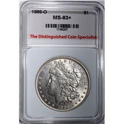 1886-O MORGAN DOLLAR, TDCS CH BU+