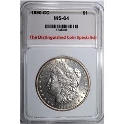 1890-CC MORGAN DOLLAR, TDCS CH/GEM BU
