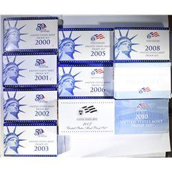 10 - PROOF SETS 2000 thru 2010