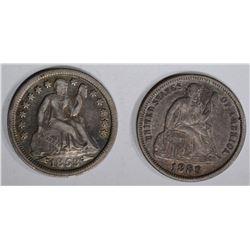 SEATED DIMES 1889 XF/AU, 1853 ARROWS