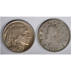 1883 NICKEL & 1913 TYPE 1 BUFFALO 5c