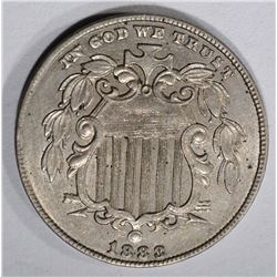 1883 SHIELD NICKEL, CH BU