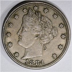 1884 LIBERTY NICKEL, XF/AU