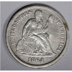 1864-S SEATED DIME, VF scratches rev