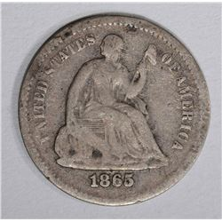 1865-S SEATED HALF DIME, VG+ slightly bent
