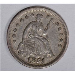 1851-O SEATED HALF DIME, XF