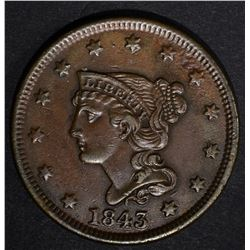 1843 LARGE CENT, XF