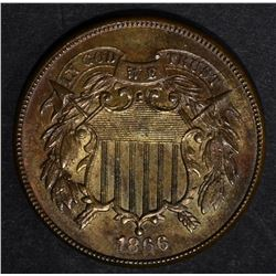 1866 TWO CENT PIECE, XF/AU