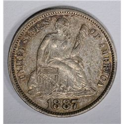 1887 SEATED DIME, ORIG. AU