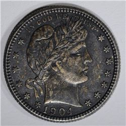 1904 BARBER QUARTER, ORIG. AU+