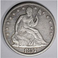 1857-O SEATED HALF DOLLAR, VF/XF scratches