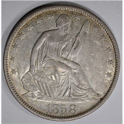 1858-O SEATED HALF DOLLAR, AU/BU scratches rev