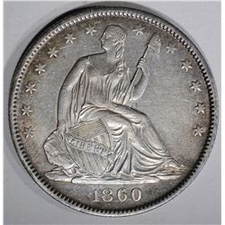 1860-O SEATED HALF DOLLAR, AU/BU