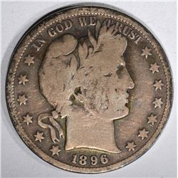 1896-S BARBER HALF DOLLAR, VG+ KEY DATE
