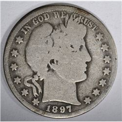 1897-O BARBER HALF DOLLAR, GOOD KEY DATE