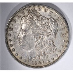 1892 MORGAN DOLLAR, XF/AU NICE