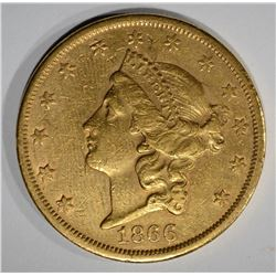 1866-S $20.00 GOLD LIBERTY w/MOTTO  AU