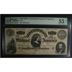 1864 $100. CONFEDERATE STATES OF AMERICA