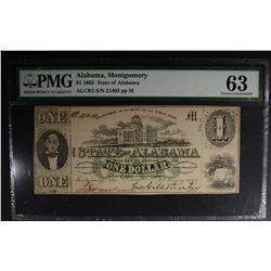 1863 $1 STATE OF ALABAMA  PMG 63