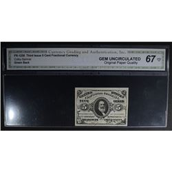 1863 THIRD ISSUE 5 CENT FRACTIONAL CURRENCY