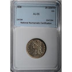1838 CAPPED BUST QUARTER NNC AU/BU