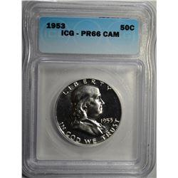 1953  FRANKLIN HALF DOLLAR ICG PR 66 CAMEO