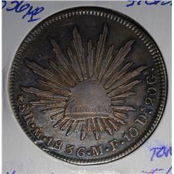 1836 MO SILVER 8 REALES MEXICO  XF/AU