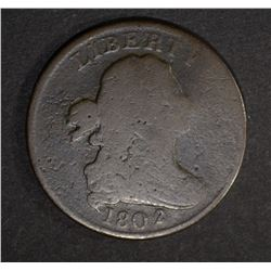 1802/0 DRAPED BUST HALF CENT  G/VG