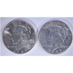 1934 BU & 1935 XF PEACE DOLLARS