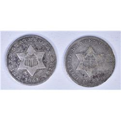 1852 & 1851 TYPE 1 THREE CENT SILVER PIECES