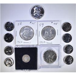 13 COIN COLLECTORS LOT: 1952 BU, 1953 BU,