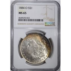 1884-O MORGAN DOLLAR NGC MS 65