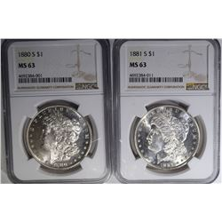 2 - NGC MS 63 MORGAN DOLLARS: