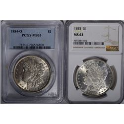 2 - MS 63 MORGAN DOLLARS: