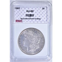 1893 MORGAN DOLLAR RNG AU BU