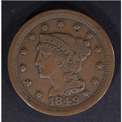 1849 LARGE CENT, XF+