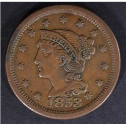 1853 LARGE CENT, XF+