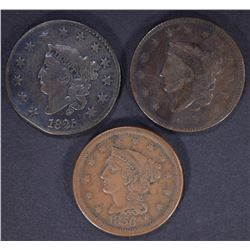 1835 F, 1825 F & 1856 VF LARGE CENTS