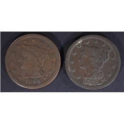 1844 F & 1845 VF LARGE CENTS