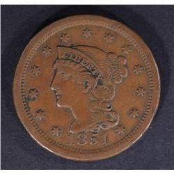 1851 LARGE CENT, XF+