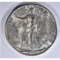 1947-D WALKING LIBERTY HALF DOLLAR, CH BU