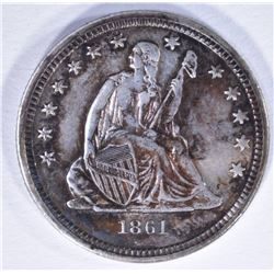 1861 SEATED HALF DOLLAR, AU