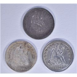 1856, 59 & 61 SEATED HALF DIMES ALL XF/AU