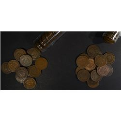 1889 & 1890 CIRC INDIAN CENT ROLLS 100-COINS TOTAL