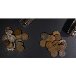 1891 & 1992 CIRC INDIAN CENT ROLLS 100-COINS TOTAL