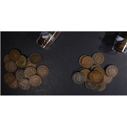 1898 & 1899 CIRC INDIAN CENT ROLLS 100-COINS TOTAL