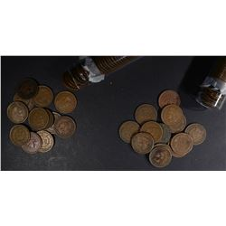 1906 & 1907 CIRC INDIAN CENT ROLLS 100-COINS TOTAL